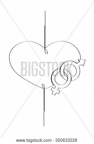 Heterosexual Love. Male And Female Sign Inscribed In A Heart Shape. Isolated Stock Vector Illustrati