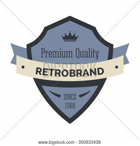 Retro Brand Company Logo Template With Shield Crest Frame