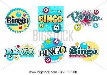 Bingo Game Logo Set Of Six With Colorful Nambered Balls