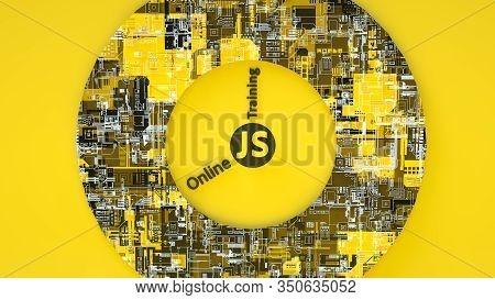 3d Illustration Of Js Online Training For Banners Or Signboard. Concept Of Js Javascript Programming