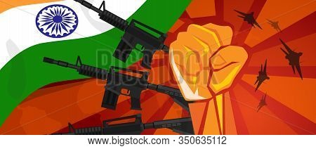 India War Propaganda Hand Fist Strike With Arm Plane And Flag. Vintage Red Symbol Of Aggression And