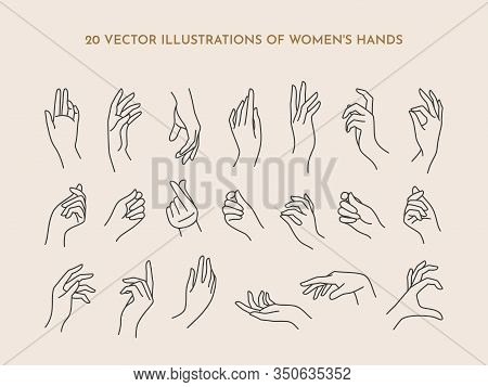 A Set Of Icons Womens Hands In A Trendy Minimal Linear Style. Vector Illustration Of Female Hands Wi