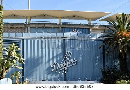 LOS ANGELES, CALIFORNIA - 12 FEB 2020: Closeup of the Dodgers logo sign at Vin Scully Entrance to the Stadium. Vin Scully, .