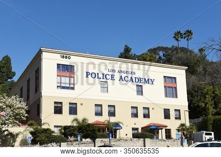 LOS ANGELES - 12 FEB 2020: The Los Angeles Police Academy is located in picturesque Elysian Park. In this unique training facility is the Los Angeles Police Revolver and Athletic Club (LAPRAAC).