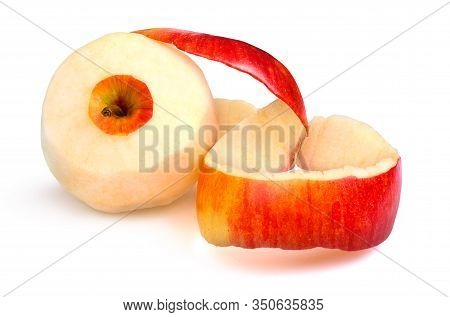 Peeled Red Apple On A White Background