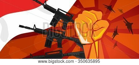 Indonesia Retro Style Of War Propaganda Hand Fist Strike With Arm Plane And Flag. Vintage Red Symbol