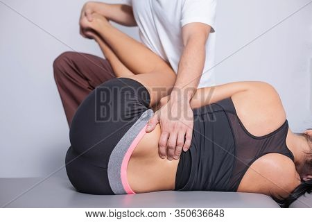 Physiotherapy Back Pain Exercises. Muscle Therapy Background. Body Massage In Spa. Professional Medi