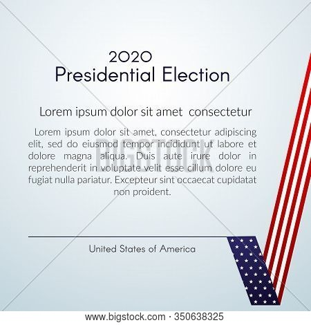 Us Presidential Election Voting 2020 Text Vote With A Tick Usa Flag On A Light Background Patriotic