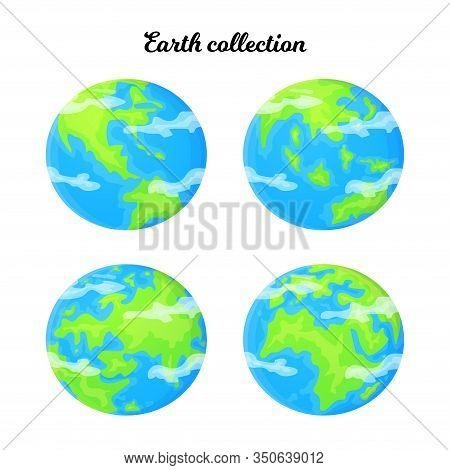 Cartoon Earth Set With Different Planet Angle. Ecology And Reuse Concept. Global Environment Problem