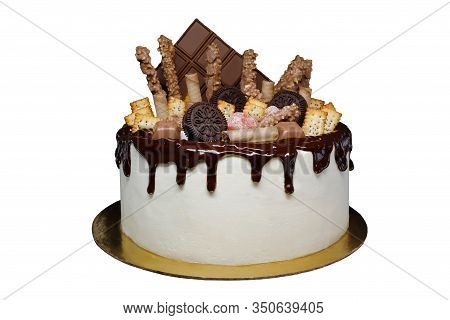 Beautiful Cake Covered With Cottage Cheese Cream And Chocolate Icing, Decorated With Chocolate, Cook