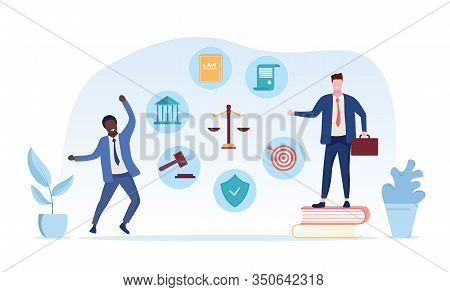 Legal Services Of A Lawyer Concept With Two Lawyers One Standing On His Law Books, Second Celebratin