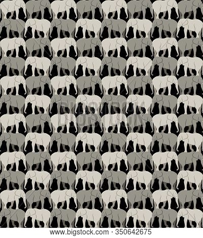 Seamless Pattern With Gray Elephants On A Black Background, Tessellation. Vector Illustration Eps 10