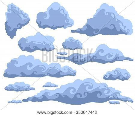 Set Of Cartoon Clouds. Weather Background. Storm Vector Illustration