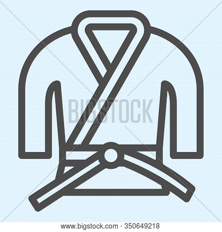 Kimono Line Icon. Asian Martial Art Costume, Judo And Karate Or Other Suit With Belt. Sport Vector D