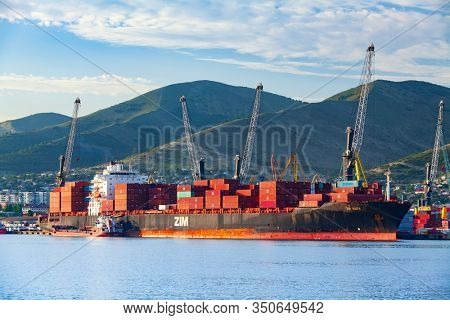 Novorossiysk/Russia July 24, 2018: Container ship ZIM Haifa in a port of Novorossiysk, Russia