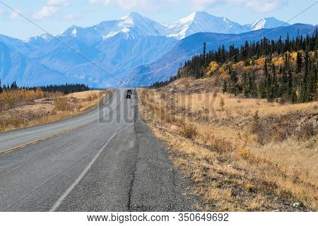 On The 2281 Km Long Alaska Highway Between Whitehorse And Haines Junction With The Snowcapped Elias
