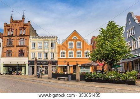 Haderslev, Denmark - June 26, 2019: Shops At The Central Square Of Historic City Haderslev, Denmark