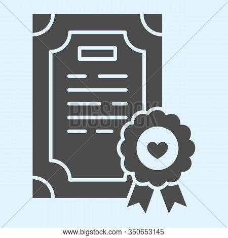 Prenuptial Agreement Solid Icon. Certificate, Marriage Contract. Wedding Asset Vector Design Concept