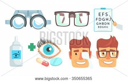 Ophthalmologist Diagnostic, Treatment And Correction Of Vision Collection, Ophthalmology And Oculist