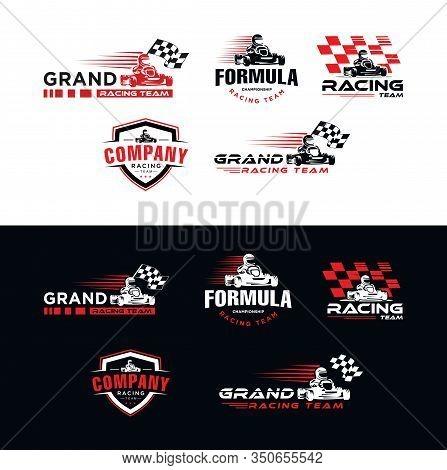 Set Of Karting Race Symbol Logo,emblem Template Vector Image . Go Kart Logo Vector . Kart Driver Spo