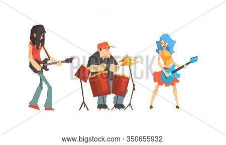 Musicians People Set, Guitarist, Singer, Drummer Characters Playing On Music Instruments And Singing