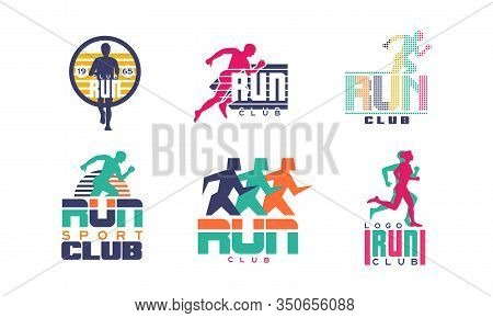 Run Sport Club Logo Templates Collection, Tournament, Marathon, Sport Organization Colorful Badges V