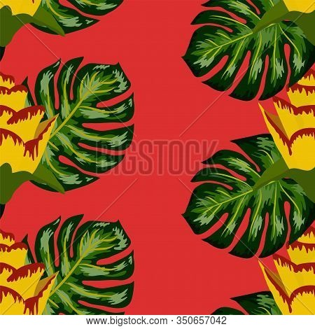 Summer Seamless Tropical Pattern With Bright Yellow And Pink Plants And Leaves. Print With Hand Draw