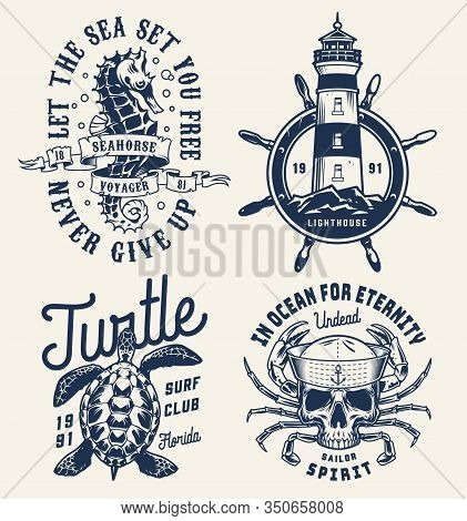 Monochrome Sea And Marine Badges With Seahorse Lighthouse Rudder Turtle Skull In Sailor Cap With Cra