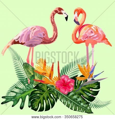 Decorated With Exotic Rain Forest Jungle Palm Tree Monstera Green Leaves And Couple Of Pink Flamingo