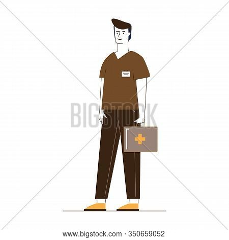 Paramedic With First Aid Kit. Male Character In Medical Uniform Flat Vector Illustration. Emergency,