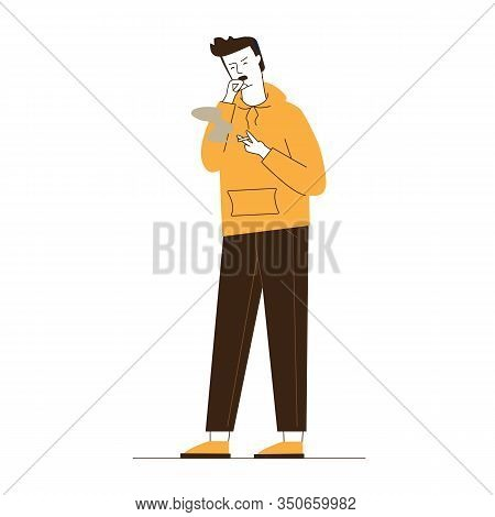 Male Smoker Coughing. Smoking Young Man Flat Vector Illustration. Health Problem, Nicotine, Addictio
