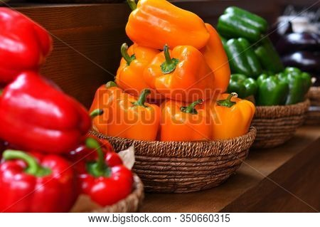 Colourful Peppers, Red, Yellow And Green.their Name Are Bell Pepper, Sweet Pepper Or Capsicum.vegeta