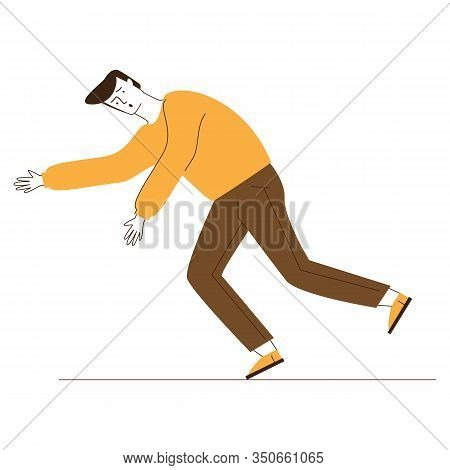 Scared Clumsy Man Stumbling. Cartoon Character Falling Down Flat Vector Illustration. Attention, Saf
