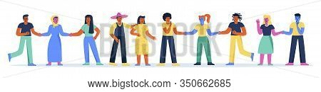 Horizontal Banner With Multiracial Group Of People Standing Together And Holding Hands. Set Of Happy