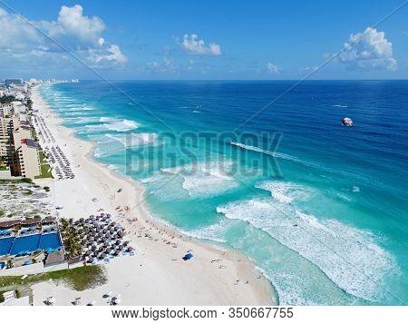 Cancun beach and hotel zone aerial view, Cancun, Quintana Roo QR, Mexico.