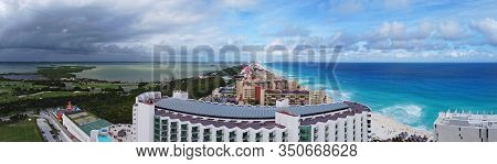 Cancun beach and Seadust Cancun Family Resort, The Royal Islander Resort panorama aerial view, Cancun, Quintana Roo QR, Mexico.