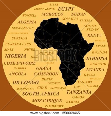 Silhouette Of The Continent Of Africa With Borders On The Background Of Country Names. Black Silhoue