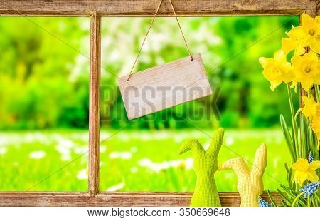 Vintage Window Frame, Sign, Copy Space, Grass Meadow