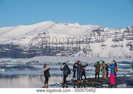 Jokulsarlon Iceland - February 17. 2019: Tourists Having A Fun Day At The Jokulsarlon Glacier Lagoon