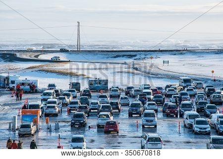 Jokulsarlon Iceland - February 17. 2019: Cars Parked At The Parking Lot At Jokulsarlon Glacier Lagoo