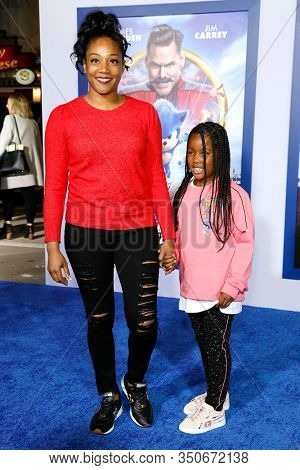 LOS ANGELES - JAN 12: Tiffany Haddish, goddaughter Cadence at the Sonic The Hedgehog Special Screening at the Regency Village Theater on February 12, 2020 in Los Angeles, California