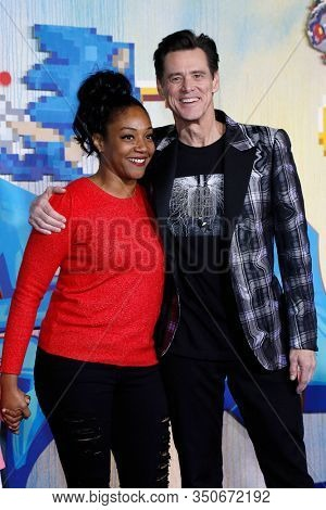 LOS ANGELES - JAN 12: Tiffany Haddish, Jim Carrey at the Sonic The Hedgehog Special Screening at the Regency Village Theater on February 12, 2020 in Los Angeles, California