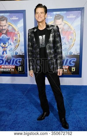 LOS ANGELES - JAN 12: Jim Carrey at the Sonic The Hedgehog Special Screening at the Regency Village Theater on February 12, 2020 in Los Angeles, California