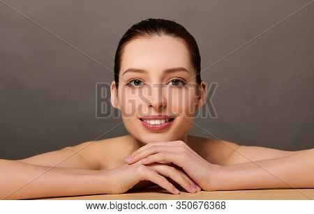 Clean Skin Woman Face Close Up Cosmetic Concept. Beauty Woman Healthy Skin Close Up Face. Beautiful