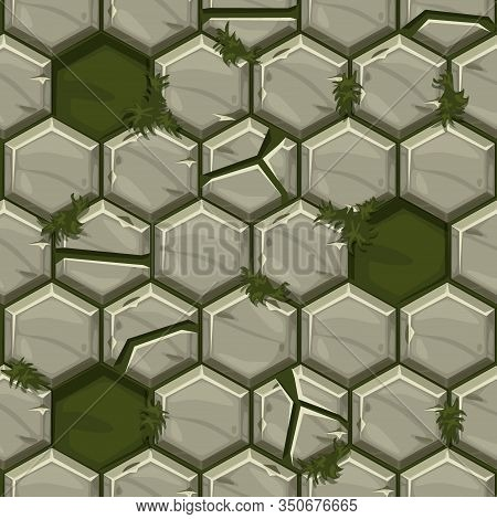 Seamless Pattern Hexagonal Old Stone Paving Texture.