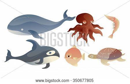 Cute Sea Creatures With Protuberant Eyes Vector Set