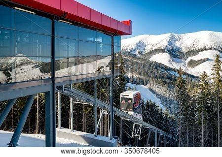 Demanovska Dolina, Slovakia - February 8: Cableway Twinliner Cabin And Top Station In Ski Resort Jas
