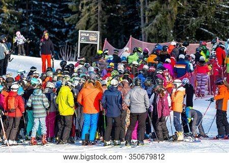 Demanovska Dolina, Slovakia - February 8: Many Skiers On Slope In Resort Jasna In Low Tatras Mountai