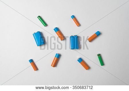 Aa, Aaa And Pp3 Batteries On White Background. Different Types Of Accumulators.