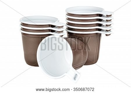 Standing Three And Five Unused Disposable White Plastic Mugs With Brown Satin Texture On The Outside